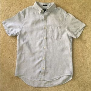 J Crew Short Sleeve Linen Shirt Stripe - Medium
